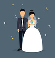Bride and groom Wedding design over grey vector image