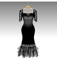 elegant black dress with lace vector image