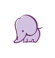 pastel color cute violet elephant vector image