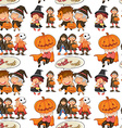 Seamless halloween theme with children in costume vector image