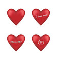 set of round red hearts vector image