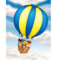 kids flying in hot air balloon vector image