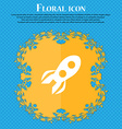 Rocket icon sign Floral flat design on a blue vector image