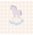 little cute unicorn in pastel colors on a vector image
