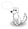 Sketchy cartoon dog with speaking bubble vector image