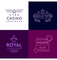 Gambling emblems of Poker club and casino vector image vector image