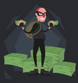 a balding thief wearing a mask stands against the vector image