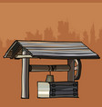 conceptual design of an ancient village well vector image