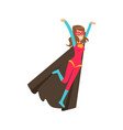 girl flying superhero in classic comics costume vector image