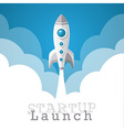rocket startup launch poster vector image