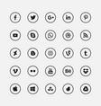 Social media black circular icons set vector image