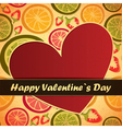 valentine day card with fruits and heart vector image