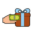 giftbox present with hand human vector image
