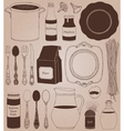 Cookware home cooking background vector image vector image