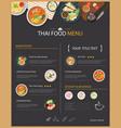 thai food restaurant menu template flat des vector image