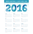 Calendar 2016Polygon blue numberssnowflakes vector image