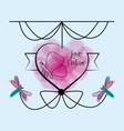 heart emblem with ornamental design and dragonflys vector image