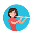 musician playing flute girl flutist is inspired vector image
