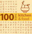 set of 100 icons of different types of cookware vector image
