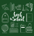 Set of linear school items vector image