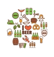 with Oktoberfest thin line elements vector image