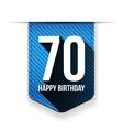 Seventy years happy birthday ribbon vector image