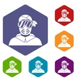 Paintball player wearing protective mask icons set vector image