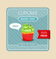 green cupcake with chocolate hearts card vector image