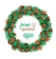 christmas pine round garland vector image