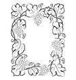 black calligraphy frame wine label vine grapes vector image vector image
