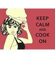 pop art woman cook vector image