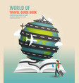 World travel design open book guide concept vector image