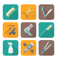 hairdresser tools color flat style icons set vector image