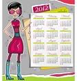 2012 calendar with fashion girl vector image vector image