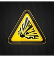 explosive warning sign vector image vector image
