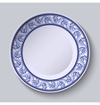 Plate with blue decorative border Template design vector image