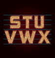 Retro Light Bulb Font from S to X vector image