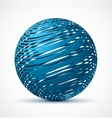 Abstract blue sphere with realistic shadow vector image