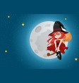 cute cartoon witch flying with her broom during vector image