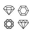 Diamond Gems Icons Set on White Background vector image