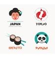 Japanese food and sushi icons menu design vector image