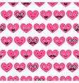 seamless pattern with Valentine hearts smiles vector image