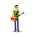 teenage boy playing guitar during concert cartoon vector image