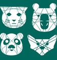 set of separated animals logos vector image