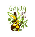 ganja label logo graphic template vector image