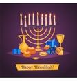 Hanukkah celebration Set of colorful elements vector image