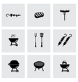 black barbecue icon set vector image