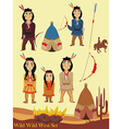 Cartoon characters indian wild west collection vector image