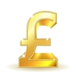 Gold sign pound currency vector image