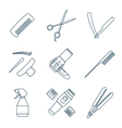 hairdresser tools dark color outline icons set vector image